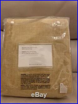 S4 Pottery Barn Emery Blackout Drapes 50x84 Linen Cotton 3-in-1 Pole Top Wheat