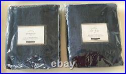 SET/2 NEW Pottery Barn Emery Linen Blackout Curtains Drapes 108 Midnight Denim