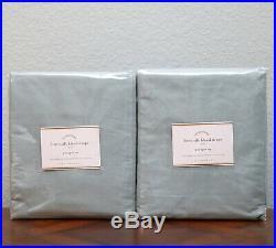 SET/2 NEW Pottery Barn LINEN SILK BLEND CURTAINS Drapes Panels 50x84 BLUE DAWN