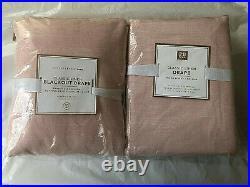 SET/2 Pottery Barn Teen CLASSIC LINEN BLACKOUT Curtain Panel 44 x 84 Blush