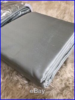 SET OF 2 POTTERY BARN SILK DUPIONI DRAPES PANELS 104x124 PORCELAIN BLUE $860