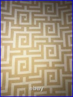 SET OF 2 Pottery Barn Greek Key Drapes 50 X 104Curtain Panels Gold & Cream