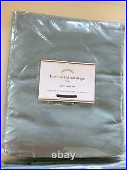 SET of 2 New Pottery Barn Linen Silk Blend Curtains Drapes Panels 108 Blue Dawn