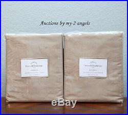 S/2 NEW Pottery Barn LINEN SILK BLEND CURTAINS Drapes Panels 50x96 TAUPE NEUTRAL