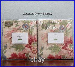 S/2 NEW Pottery Barn MARLA FLORAL Print Curtains Panels Drapes 50x96 vintage