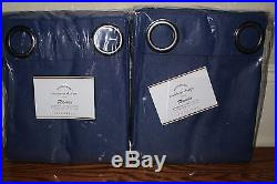 S/2 NWT Pottery Barn Sunbrella solid grommet outdoor drapes 50x84 cobalt blue