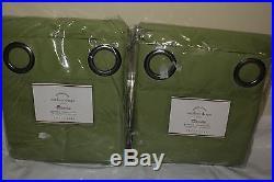 S/2 NWT Pottery Barn Sunbrella solid grommet outdoor drapes 50x96 peridot green