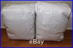 S/2 New Pottery Barn Emery pole drape panels 100x108 white linen cotton blackout