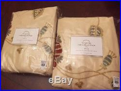 S/2 New Pottery Barn Margaritte Embroidered Drapes 50x108 multicolor