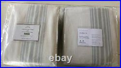 S/2 New Pottery Barn Riviera Striped Blackout Curtains 50 x 108 Porcelain Blue