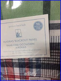S/2 POTTERY BARN KIDS MADRAS BLACKOUT DRAPE PANEL 50x96 NEW