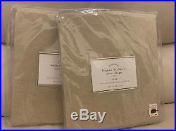S/2 Pottery Barn Belgian Flax Linen Sheer Panel Drape Flax 50x96 Tie Top $180