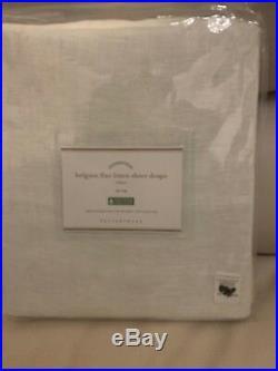 S/2 Pottery Barn Belgian Flax Linen Sheer Panel Drape White 50x96 Tie Top $180