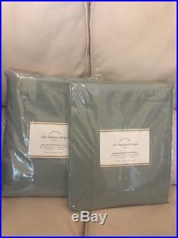 S/2 Pottery Barn Blue Dawn Silk Dupioni 84 Blackout Curtains Drapes Panels NWT