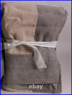 S/2 Pottery Barn Emery Border Rod Pocket Curtain drape 50x96 Oatmeal gray framed