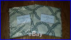S/2 Pottery Barn Kendra Trellis Sheer Drapes Curtains 50 x 84 Linen BLUE NWT