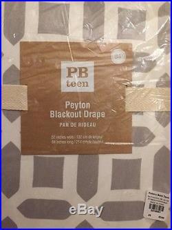 S/2 Pottery Barn PB Teen Gray Peyton Drape Panels 84 Curtain Blackout NWT