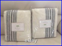 S/2 Pottery Barn Riviera Stripe 50x108 BLACKOUT drapes Navy New With Tags