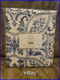 S/2 Pottery Barn Selby Tile Drape Blue 50x108 Curtains Pole Pocket Pair NIP NWT