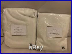 S/2 Pottery Barn Silk Dupioni blackout pole top drape 104x84 ivory Double Width