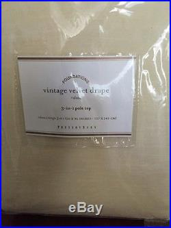 S/2 Pottery Barn Vintage Velvet 50x96 Drapes Window Panel Alabaster NEW