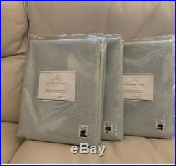 S/3 Pottery Barn Silk Dupioni Blackout 50x96 Panels Drapes Porcelain Blue $597