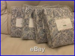 S/4 Pottery Barn Sierra Print Drapes Blue 50x96L Pole Pocket Pair Damask NIP