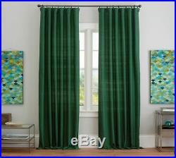 Set 2 NEW Pottery Barn Silk Dupioni 50x84 Panel Drapes Emerald Green WithBlackout