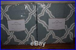 Set/2 NIP Pottery Barn Kendra trellis drape panels 50x84 porcelain blue