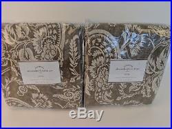 Set/2 NWT Pottery Barn Alessandra Floral drape panels 50x108 charcoal gray brown