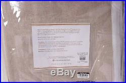 Set/2 NWT Pottery Barn Belgian Flax Linen Border Sheer Trim Curtains, 50x96 flax