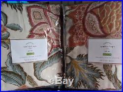 Set/2 NWT Pottery Barn Cynthia Palampore drape panels 50x108 ivory on hand now