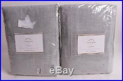 Set/2 NWT Pottery Barn Emery pole top drape curtains panel 50x108 blue dawn