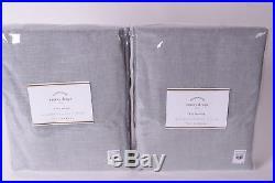 Set/2 NWT Pottery Barn Emery pole top drape panels 50x84 linen cotton blue dawn