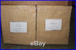 Set/2 NWT Pottery Barn Emery wheat gold pole top drape panels 50x96 linen cotton