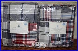 Set/2 NWT Pottery Barn Kids Madras blackout drape curtain panels 44x96 navy red