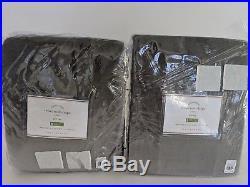 Set/2 NWT Pottery Barn Velvet Twill drape panels 50x84 flagstone gray