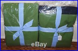 Set/2 New Pottery Barn Kids navy green Rugby blackout drape panels 44x84 curtain