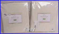 Set/2 Pottery Barn Belgian Flax Linen Rod Pocket Blackout Curtains, Ivory, 50x96