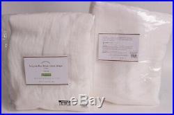 Set/2 Pottery Barn Belgian Flax Linen Sheer Curtain drape panels 50 X 108 white