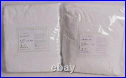 Set/2 Pottery Barn Classic Belgian Linen rod pocket curtains drape 100x96, white