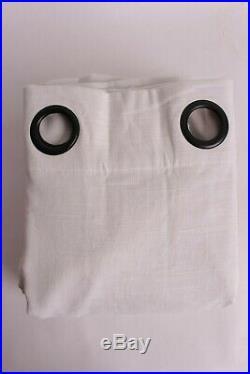 Set/2 Pottery Barn Emery Linen Grommet blackout drape curtain panels 50x96 white