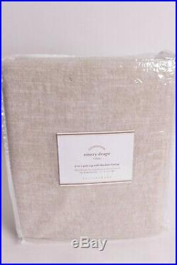 Set/2 Pottery Barn Emery blackout pole top drape curtain panels 50x84 oatmeal