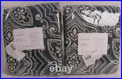 Set/2 Pottery Barn Emina print rod pocket blackout curtain panels 50x84, blue