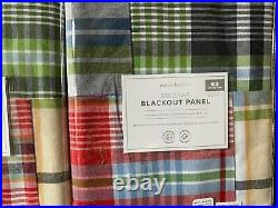 Set 2 Pottery Barn Kids Madras Blackout panel Curtain 63 Multi colors Pole Top
