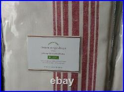 Set 2 Pottery Barn Riviera Stripe Drape Red 96x50 Curtain Pole Blockout Pair New