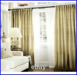 Set Of 2 Pottery Barn Dupioni Silk Pole Top Curtain Panels Drapes 50X124 GOLD