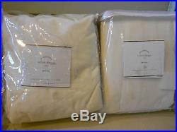 Set Of 2 Pottery Barn Velvet Cotton Drapes Panels 50''x 108'' Ivory Pole Pocket
