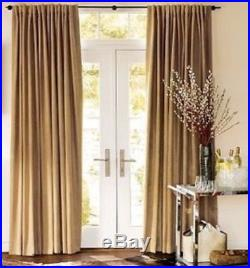 Set Of 4 Pottery Barn Drapes Panels Finn Suede Rideau Curtains, 50 x 96, Camel