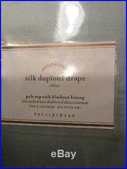 Set Of Two (2) Pottery Barn Silk Dupioni Blackout Drape. Double Width. NWT